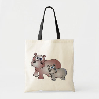 Cute Hippos Mom and Baby Budget Tote Bag