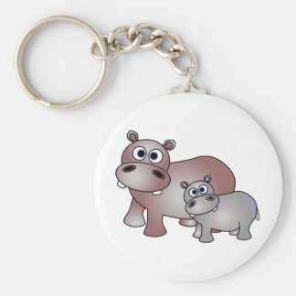 Cute Hippos Mom and Baby Basic Round Button Keychain