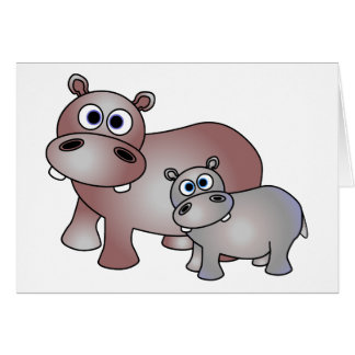 Cute Hippos Mom and Baby Card