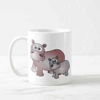 Cute Hippos Mom and Baby Classic White Coffee Mug