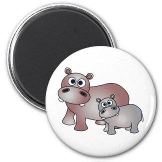Cute Hippos Mom and Baby Refrigerator Magnets