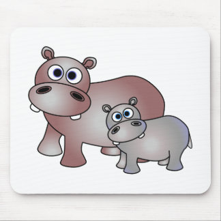 Cute Hippos Mom and Baby Mouse Pad