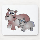 Cute Hippos Mom and Baby Mouse Pads