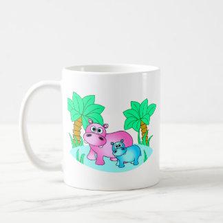 Cute Hippos Mom and Baby Swimming Classic White Coffee Mug