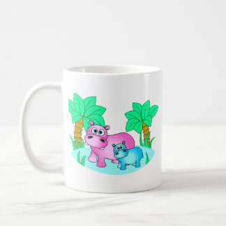 Cute Hippos Mom and Baby Swimming Coffee Mug