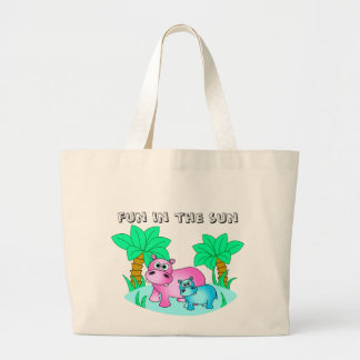 Cute Hippos Mom and Baby Swimming Large Tote Bag