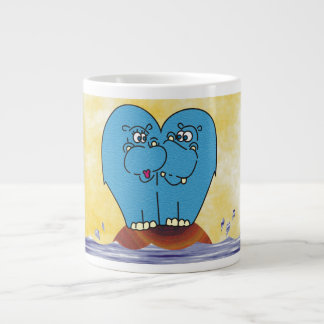 Cute Hippos on a Small Island Collage Mug