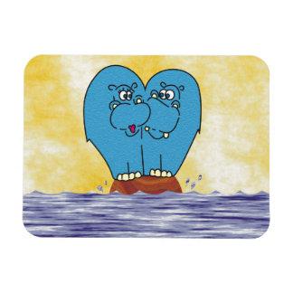 Cute Hippos on Small Island Collage Fridge Magnet