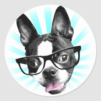 Cute! Hipster Boston Terrier Classic Round Sticker