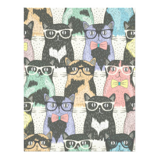 """Cute Hipster Cats Pattern 8.5"""" X 11"""" Flyer"""