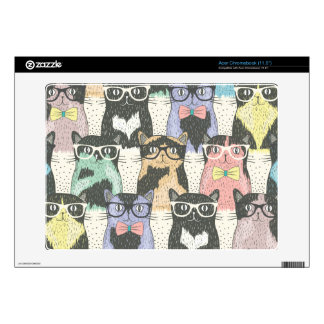 Cute Hipster Cats Pattern Acer Chromebook Skins