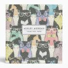 Cute Hipster Cats Pattern Binder
