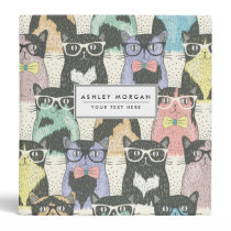 Cute Hipster Cats Pattern Binder