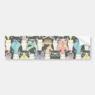 Cute Hipster Cats Pattern Bumper Sticker