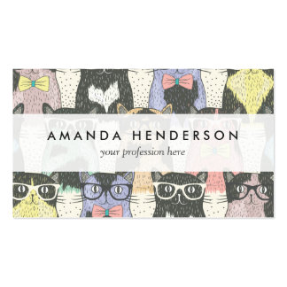 Cute Hipster Cats Pattern Business Card
