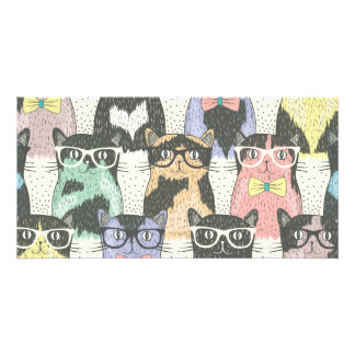 Cute Hipster Cats Pattern Card