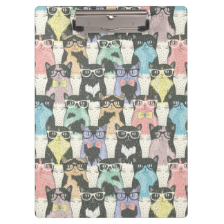 Cute Hipster Cats Pattern Clipboard