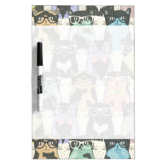 Cute Hipster Cats Pattern Dry-Erase Board