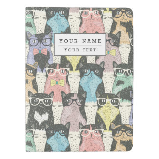 Cute Hipster Cats Pattern Extra Large Moleskine Notebook Cover With Notebook
