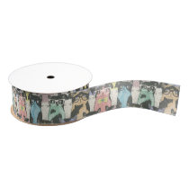 Cute Hipster Cats Pattern Grosgrain Ribbon