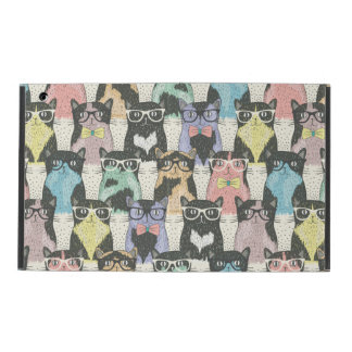 Cute Hipster Cats Pattern iPad Folio Case