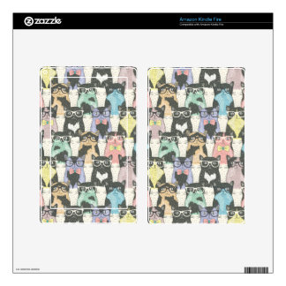 Cute Hipster Cats Pattern Kindle Fire Decal