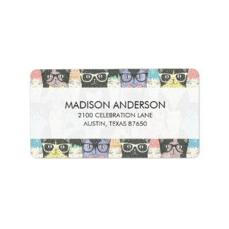 Cute Hipster Cats Pattern Label