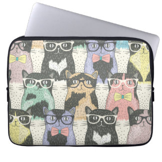 Cute Hipster Cats Pattern Laptop Sleeve
