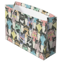Cute Hipster Cats Pattern Large Gift Bag