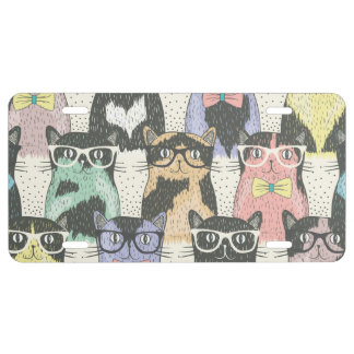 Cute Hipster Cats Pattern License Plate