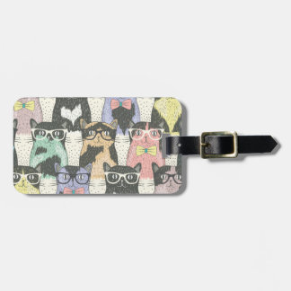 Cute Hipster Cats Pattern Luggage Tag
