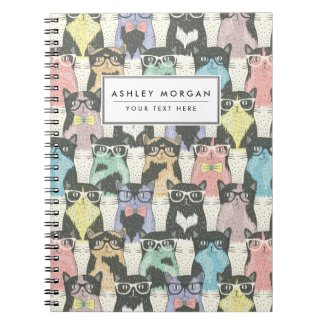 Cute Hipster Cats Pattern Note Books
