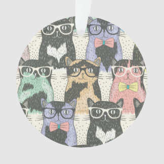 Cute Hipster Cats Pattern Ornament