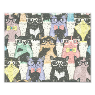 Cute Hipster Cats Pattern Photo Print