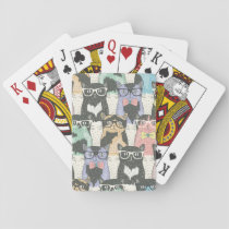 Cute Hipster Cats Pattern Playing Cards