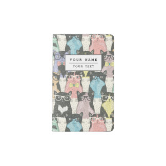 Cute Hipster Cats Pattern Pocket Moleskine Notebook Cover With Notebook