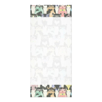 Cute Hipster Cats Pattern Rack Card