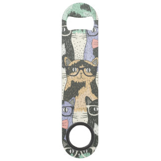 Cute Hipster Cats Pattern Speed Bottle Opener