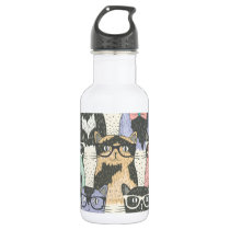 Cute Hipster Cats Pattern Stainless Steel Water Bottle