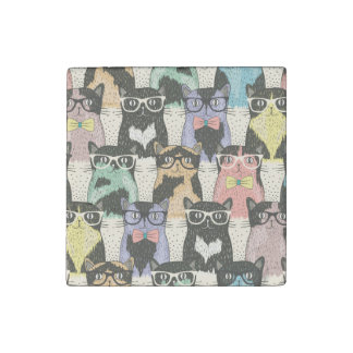 Cute Hipster Cats Pattern Stone Magnet