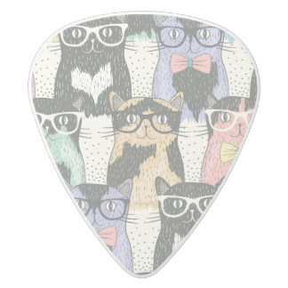 Cute Hipster Cats Pattern White Delrin Guitar Pick