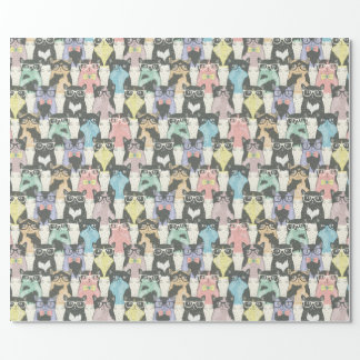 Cute Hipster Cats Pattern Wrapping Paper