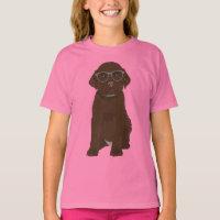 Cute Hipster Chocolate Labrador Retriever Puppy T-Shirt
