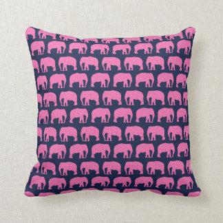 Cute Hipster Elephant Pattern Pink Blue Throw Pillow