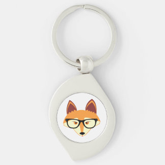 Cute Hipster Fox with Glasses Keychain