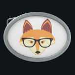 "Cute Hipster Fox with Glasses Oval Belt Buckle<br><div class=""desc"">Cute Hipster Fox with Glasses</div>"