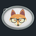 """Cute Hipster Fox with Glasses Oval Belt Buckle<br><div class=""""desc"""">Cute Hipster Fox with Glasses</div>"""