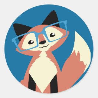 Cute Hipster Glasses Fox Classic Round Sticker