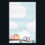 """Cute Hipster Glasses Owl Stationery<br><div class=""""desc"""">Cute stationery for your original missives featuring a line of colorful owls perched on a branch.</div>"""