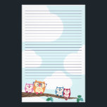 "Cute Hipster Glasses Owl Stationery<br><div class=""desc"">Cute stationery for your original missives featuring a line of colorful owls perched on a branch.</div>"